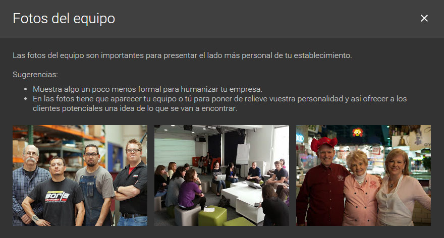 fotos del grupo de trabajo google my business