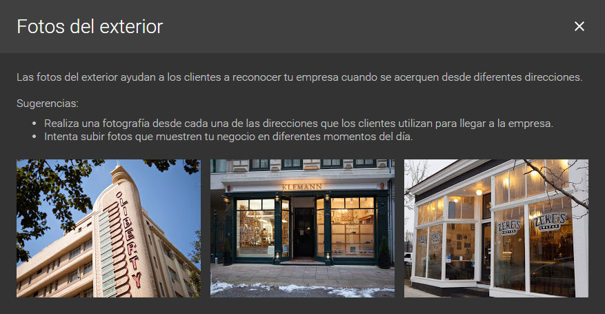 fotos del exterior google my business