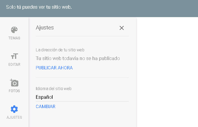 ajustes sitio web my business
