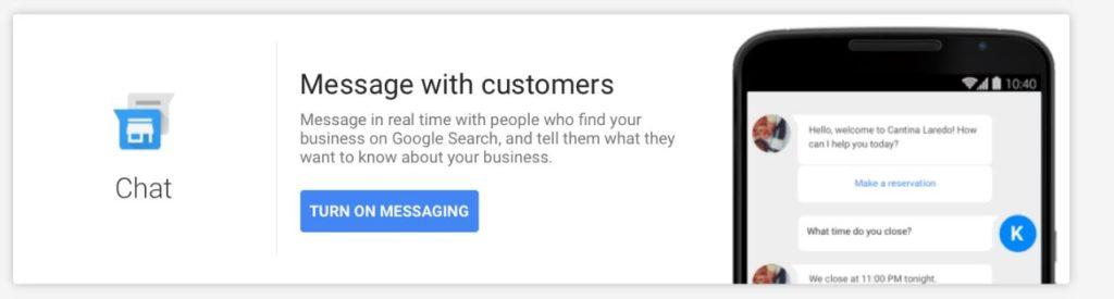 chat mensajes google my business
